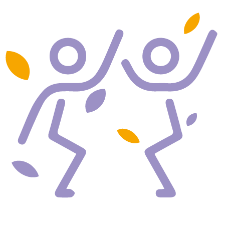 iconcographie qui représente deux personnes qui lâchent prise grace à la danse et l'expression corporelle vue par éclat de toi